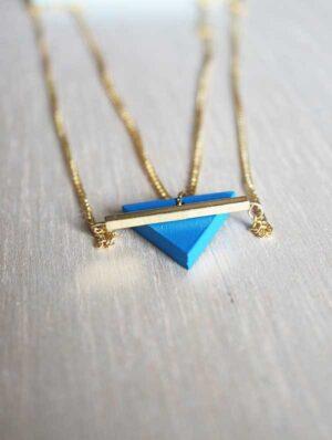Collar Doble Triángulo Azul / Mittú